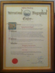 Diploma of Authority International Biographical Centre, Cambridge England